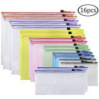 JPSOR 16pcs Mesh Zipper File Bags, 8 Sizes and 8 Colors Document Pouch, for Office and Travel Organization (16)