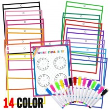 JPSOR Dry Erase Pocket - 14pcs 14-Color Dry Erase Sleeves & 14 Colorful Erasable Pens + 8 Learning Sheets (14pcs)