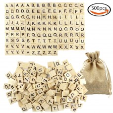 Goodlucky 500pcs Wooden Letter Tiles with Bag,Latest Package Wooden Letters,Great for Crafts, Pendants, Spelling