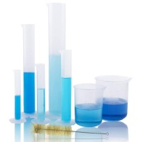 JPSOR 5 Pcs Clear Plastic Graduated Cylinder, 10, 25, 50, 100, 250ml, with 2 Plastic Beakers & 1 Cylinder Brush