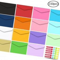 "JPSOR 150 Pcs Mini Envelopes 15 Colors 3.2"" x 4.5"" Gift Card Envelopes, Small Colored Self-Adhesive Envelopes, Pocket Envelopes"