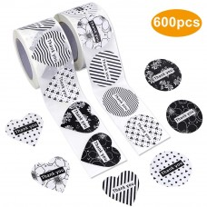 JPSOR 600pcs Thank You Stickers, 1.5 Inches Assorted Heart and Round Shape Adhesive Label Stickers for Baby Shower, Wedding, Birthday, Party (2 Rolls)