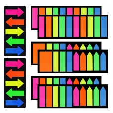 JPSOR 1360 Pieces Page Markers Neon Colored Index Tabs, Fluorescent Index Labels Flags Stickers, 8 Sets 4 Sizes