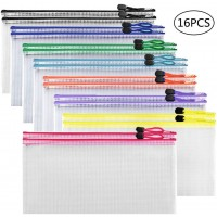 JPSOR 16pcs Zipper Pencil Pouch Plastic Zipper File Bags 8 Colors for Cosmetics, Bills, Stationery and Travel Storage 9.25×4.53 Inches