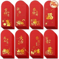 64pcs Chinese New Year Red Envelopes, 2020 Year of The Rat 6.8x3.6 Inches Lucky Hong Bao Money Packets Favors for Party and Festivals