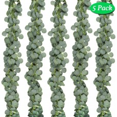 JPSOR 5 Pack Artificial Eucalyptus Garland Greenery Vines Faux Silver Dollar Eucalyptus Plants for Wedding Party Garden Decoration
