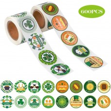 JPSOR 600pcs St.Patrick's Day Roll Stickers, Shamrock Irish Lucky Roll Stickers, Lucky St.Patrick's Day Party Favors Decorations