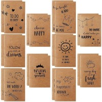 JPSOR Kraft Notebook, 20 Pack Lined Notebook Journals, Pocket Notebook with 10 Different Happy Designs, Small Notebook for Diary and Notes, 80 Pages, 3.5 x 5.5 inches